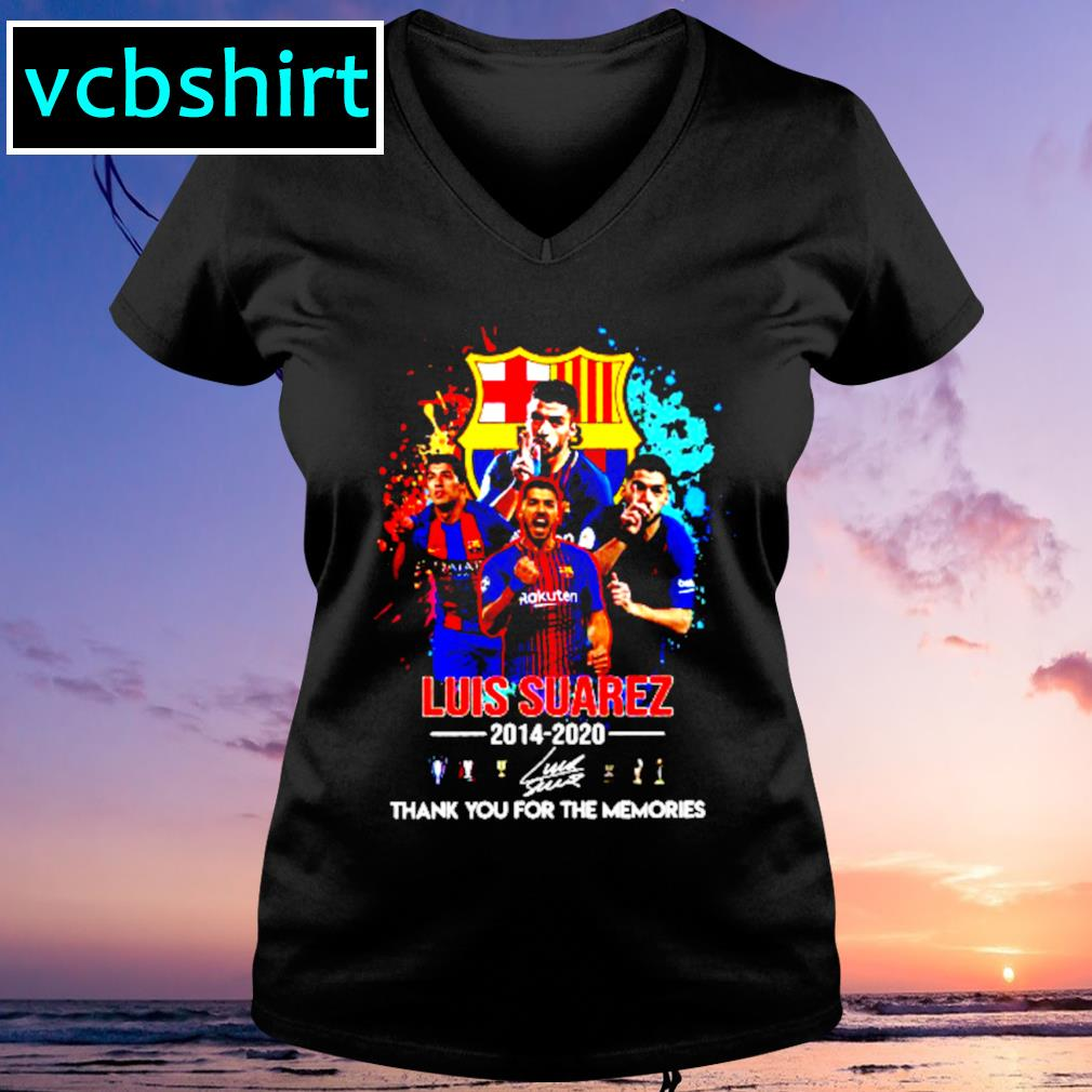 Barcelona Luis Suarez 2014 2020 Thank you for the memories signature s V-neck t-shirt