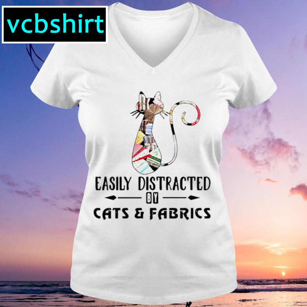 Official Cat easily distracted by cats and fabrics s V-neck t-shirt